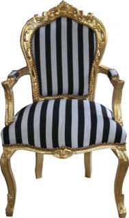 Casa Padrino Barock Esszimmerstuhl Schwarz/Weiß Streifen / Gold mit Armlehnen - Antik Stil Stuhl - Vorschau