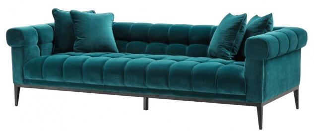 Casa Padrino Luxus Samt Sofa Meergrün / Schwarz 240 x 98 x H. 69 cm - Wohnzimmer Sofa mit 4 Kissen - Wohnzimmer Möbel - Luxus Möbel