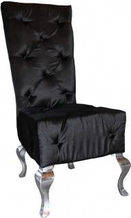 Casa Padrino Designer Esszimmerstuhl Schwarz / Silber - Luxus Qualität - Hochlehner Stuhl - Vorschau 2