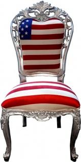 Casa Padrino Luxus Barock Esszimmer Stuhl USA / Silber - Designer Barock Stuhl - Luxus Qualität