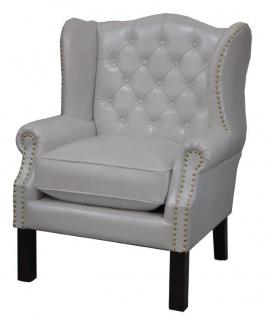 Luxus Echtleder Chesterfield Ohrensessel Weiß 72 x 65 x H. 103 cm - Hotel Möbel - Ohren Sessel Leder