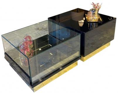 Casa Padrino Luxus Art Deco Couchtisch Dunkelbraun / Schwarz / Gold 135 x 80 x H. 40 cm - Edler Wohnzimmertisch - Art Deco Möbel