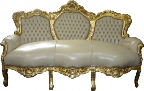 Casa Padrino Barock Sofa Garnitur Creme Lederoptik / Gold - Vorschau 1