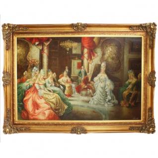 Riesiges Handgemaltes Barock Öl Gemälde Konzert Gold Prunk Rahmen 225 x 165 x 10 cm - Massives Material