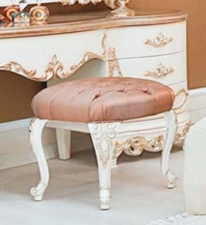 Casa Padrino Luxus Barock Hocker Rosa / Weiß / Kupferfarben - Handgefertigter Barock Sitzhocker - Hochwertige Barock Möbel