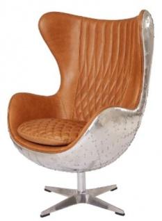 Casa Padrino Echtleder Egg Chair Braun / Silber 87 x 77 x H. 116 cm - Luxus Drehsessel