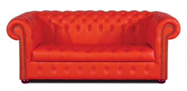 Casa Padrino Chesterfield Echtleder 3er Sofa Rot 200 x 90 x H. 78 cm - Luxus Wohnzimmermöbel