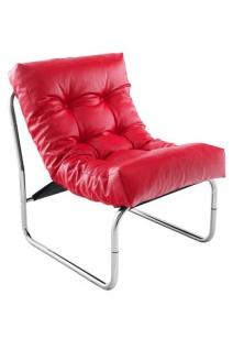 Designer Salon Stuhl Rot Lederoptik, sehr komfortabler Sitz, moderner Wohnzimmerstuhl - Vorschau 5