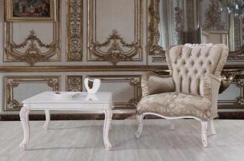 Casa Padrino Barock Sessel Braun / Weiß / Beige 80 x 82 x H. 100 cm - Prunkvoller Wohnzimmer Sessel mit Glitzersteinen - Barockstil Möbel - Vorschau 2
