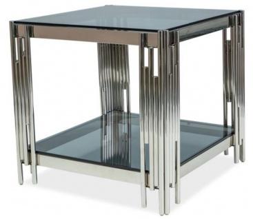 Casa Padrino Luxus Beistelltisch Silber / Schwarz 55 x 55 x H. 55 cm - Edelstahl Tisch mit getönten Glasplatten - Luxus Möbel