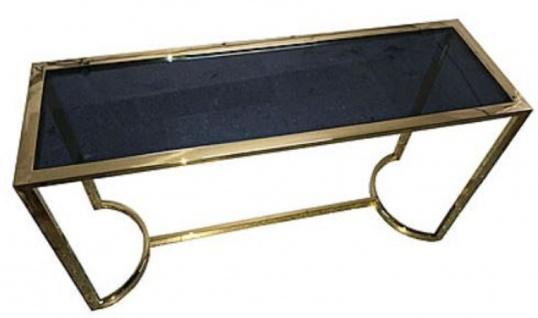 Casa Padrino Luxus Konsole Gold / Schwarz 140 x 45 x H. 78 cm - Edelstahl Konsolentisch mit getönter Glasplatte