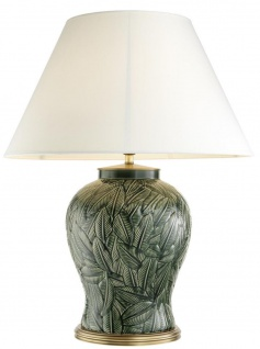 Casa Padrino Luxus Keramik Tischlampe Grün / Antik Messing - Wohnzimmermöbel
