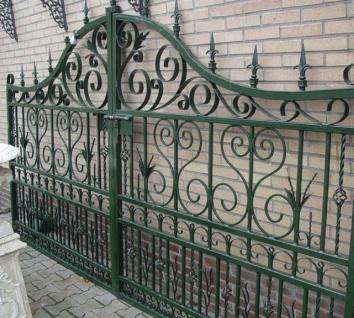 Casa Padrino Jugendstil Einfahrtstor Grün 336 x H. 206 cm - Doppelflügeltor - Metalltor - Barock & Jugendstil Garten Accessoires