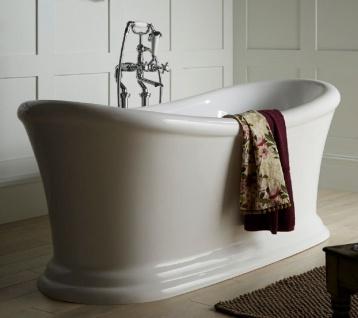 Casa Padrino Luxus Jugendstil Acryl Badewanne Weiß 170 x 74 x H. 70 cm - Gebogene freistehende Retro Antik Badewanne - Barock & Jugendstil Badezimmer Möbel