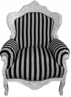 Casa Padrino Barock Sessel King weiß mit schwarz-weißen Streifen 85 x 85 x H. 120 cm