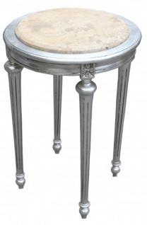Barock Beistelltisch Rund Silber/Creme Marmorplatte ModY22 72 x 49 cm Antik Stil