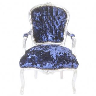 Casa Padrino Barock Salon Stuhl Royalblau Velour Stoff / Silber - Antik Design Möbel - Vorschau 4