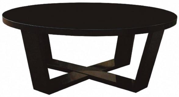 Casa Padrino Luxus Massivholz Couchtisch Schwarz Ø 100 x H. 38 cm - Moderner Wohnzimmertisch