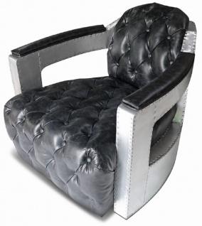 Casa Padrino Chesterfield Echtleder Sessel Vintage Schwarz / Silber 73 x 90 x H. 70 cm - Wohnzimmer Leder Sessel - Club Sessel - Lounge Sessel - Art Deco Sessel - Aluminium Flugzeug Flieger Möbel