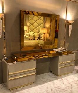 Casa Padrino Luxus Schlafzimmer Möbel Set Taupe / Gold - Edler Schminktisch mit Wandspiegel - Hotel Möbel - Luxus Qualität - Made in Italy - Vorschau 1
