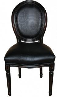 Casa Padrino Barock Esszimmer Stuhl Schwarz Croco Lederoptik - Designer Stuhl - Luxus Qualität