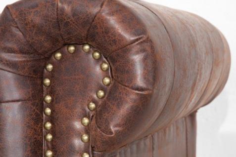 Casa Padrino Chesterfield Sofa Vintage Braun 200 x 85 x H. 70 cm - Kunstleder 3er Couch - Chesterfield Wohnzimmer Möbel - Vorschau 5