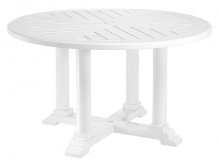 Casa Padrino Luxus Esstisch Weiß Ø 130 x H. 75 cm - Runder Küchentisch aus hochwertigen strapazierbarem Aluminium - Gartentisch
