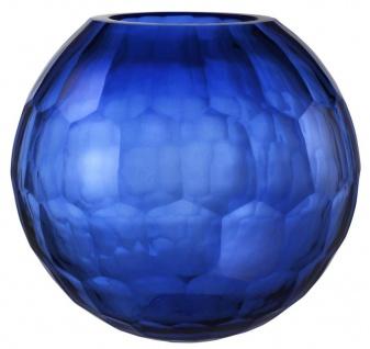 Casa Padrino Glas Vase / Blumenvase Blau Ø 30 x H. 26 cm - Luxus Wohnzimmer Deko
