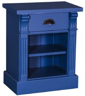 Casa Padrino Landhausstil Nachttisch mit Schublade und Regal Blau 49 x 33 x H. 60 cm - Massivholz Nachtkommode - Nachtschrank - Landhausstil Schlafzimmermöbel