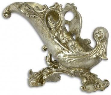 Casa Padrino Barock Kunstharz Weinflaschenhalter Antik Silber 27, 3 x 12, 4 x H. 19, 8 cm - Barock Deko Accessoires