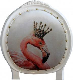 Casa Padrino Luxus Barock Esszimmer Set Flamingo mit Krone Weiß / Schwarz / Mehrfarbig 48 x 50 x H. 98 cm - 4 handgefertigte Esszimmerstühle mit Bling Bling Glitzersteinen - Barock Esszimmermöbel - Vorschau 4