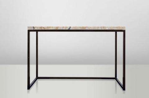 Casa Padrino Art Deco Beistelltisch Onyx / Metall 120 x 40 cm- Jugendstil Tisch - Möbel Konsole