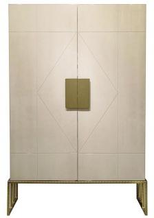 Casa Padrino Designer Wohnzimmerschrank Creme / Messing 120 x 45 x H. 175 cm - Wohnzimmer Möbel - Luxus Qualität