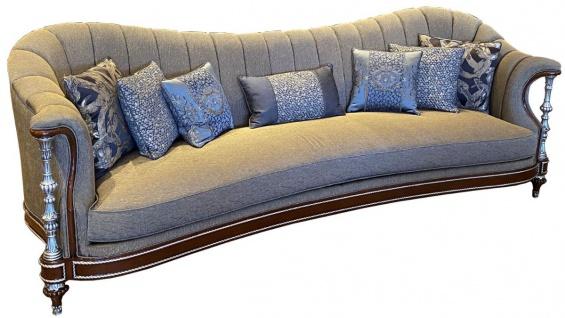 Casa Padrino Luxus Barock Wohnzimmer Sofa Grau / Braun / Silber 280 x 90 x H. 98 cm - Wohnzimmer Möbel im Barockstil - Edel & Prunkvoll