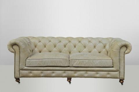 Chesterfield Luxus Echt Leder Sofa 2.5 Seater Vintage Leder von Casa Padrino Galata Sawia