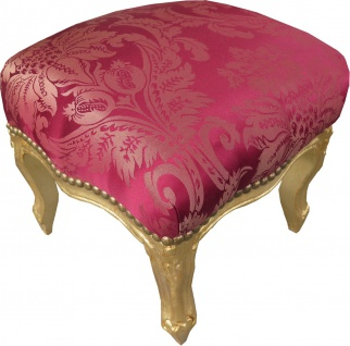 Casa Padrino Barock Fußhocker Bordeauxrot Muster / Gold Mod2 - Antik Stil Möbel - Hocker