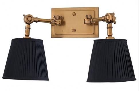 Casa Padrino Luxus 2er Wandleuchte Schwarz / Antik Stil Messing - Leuchte - Luxury Collection - Vorschau 2