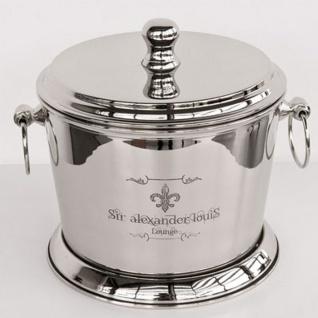 Casa Padrino Tisch Weinflaschen Halter mit Deckel - Weinkühler vernickelt Weinständer Weinflaschen Kühler Wein Flaschenhalter