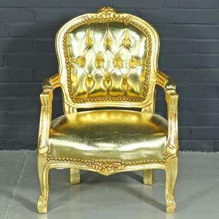 Casa Padrino Barock Kinderstuhl Gold Lederoptik / Gold - Kindermöbel im Antik Stil