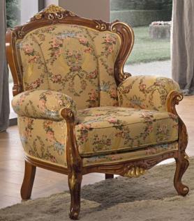 Casa Padrino Luxus Barock Wohnzimmer Sessel mit Blumenmuster Beige / Mehrfarbig / Braun / Gold 79 x 84 x H. 100 cm - Edle Barockstil Wohnzimmer Möbel