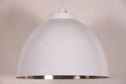 Casa Padrino Hängeleuchte Deckenleuchte Weiß / Innen vernickelt 45cm Durchmesser - Industrie Lampe Hänge Leuchte