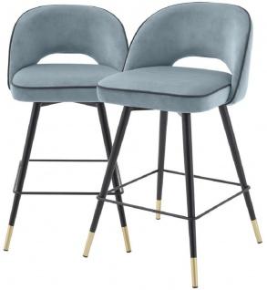 Casa Padrino Luxus Barstuhl Set Blau / Schwarz / Messingfarben 51 x 52 x H. 103 cm - Barstühle mit drehbarer Sitzfläche und edlem Samtsoff - Luxus Bar Möbel