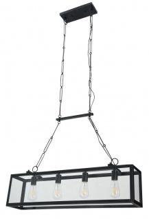 Casa Padrino Hängeleuchte Schwarz 91, 5 x 17, 6 x H. 29, 1 cm - Hängelampe mit geschmiedetem Rahmen und eingefassten Glasscheiben