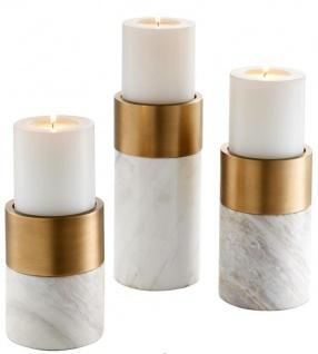 Casa Padrino Luxus Marmor Kerzenhalter Set Weiß / Messing - Wohnzimmer Deko