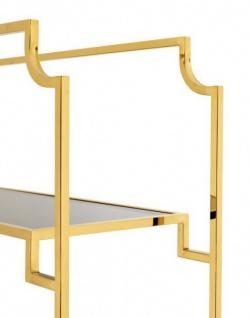 Casa Padrino Luxus Regal Schrank Edelstahl Gold mit Rauchglas B 90 x H 230 cm Bücherregal Regal Schrank - Art Deco Möbel - Vorschau 4