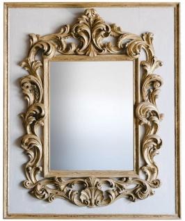 Casa Padrino Barock Spiegel Grau / Gold 104, 5 x H. 128 cm - Prunkvoller handgefertigter Wandspiegel mit dekorativem Rahmen und wunderschönen Verzierungen