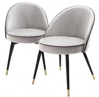 Casa Padrino Luxus Esszimmerstuhl Set Hellgrau / Schwarz / Messing 55 x 64 x H. 83 cm - Esszimmermöbel - Luxus Kollektion