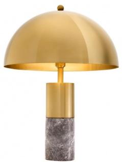 Casa Padrino Luxus Tischleuchte Messingfarben / Grau Ø 50 x H. 70 cm - Tischlampe mit rundem Metall Lampenschirm