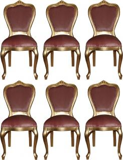 Casa Padrino Luxus Barock Esszimmer Set Rosa / Gold 45 x 46 x H. 99 cm - 6 handgefertigte Esszimmerstühle - Barock Esszimmermöbel