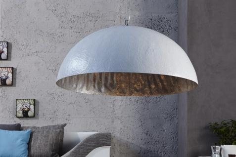 Casa Padrino Designer Pendelleuchte Weiß / Silber, Durchmesser 50 cm - Leuchte Lampe Hängeleuchte